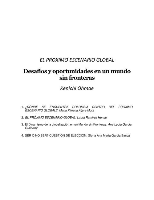 """Libro de ensayos """"El próximo escenario global"""""""