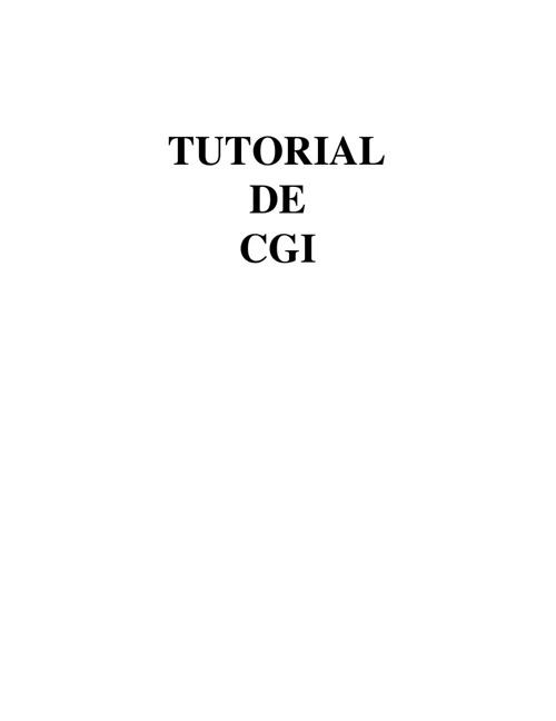 Tutorial CGI