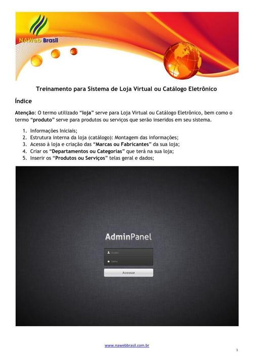 Treinamento do sistema de loja virtual da NAWeb Brasil