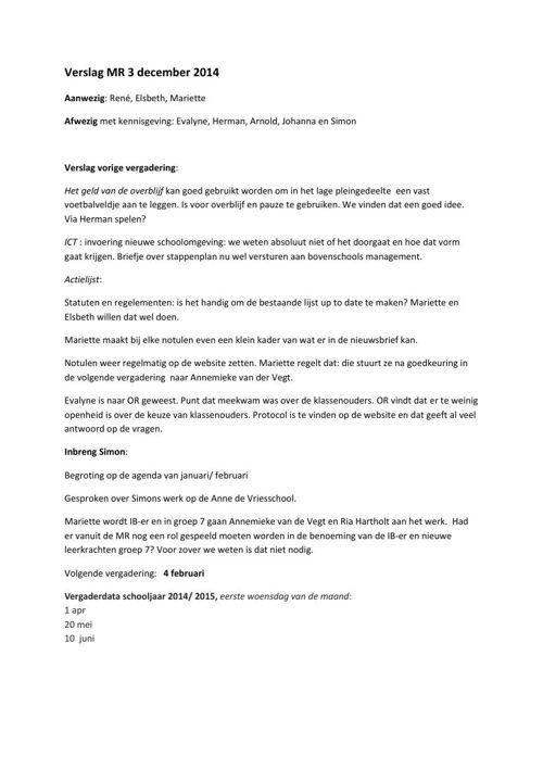 Verslag MR 3 december 2014