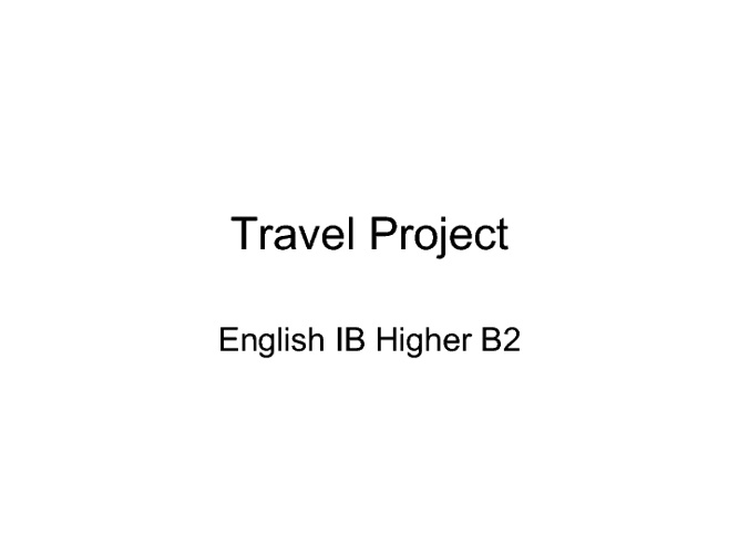 Example IBH2 Travel Project