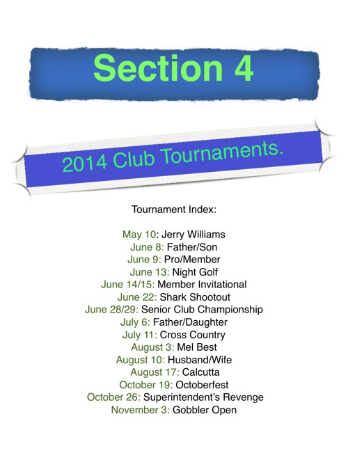2014 Summer Tournament Schedule