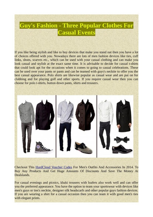 Guy's Fashion - Three Popular Clothes For Casual Events