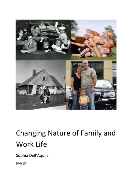 Changing Nature of Family and Work Life