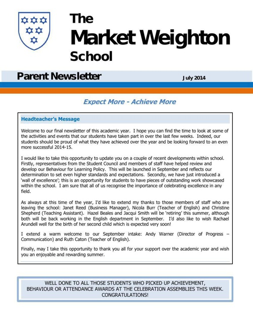 Parent Newsletter July 2014
