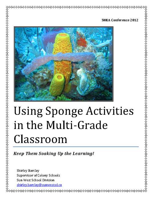Using Sponge Activities in the Multi-Grade Classroom