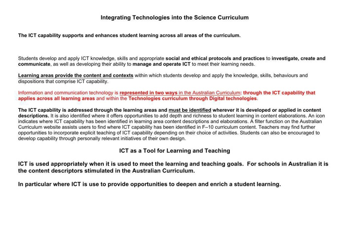 Integrating Technologies into the Science Curriculum