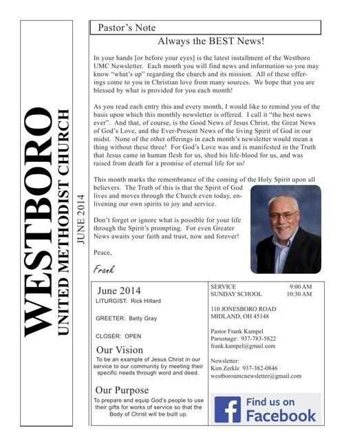 2014 June Westboro UMC eNewsletter