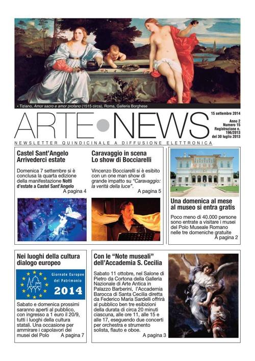 """""""Arte News"""" - 15 settembre 2014"""