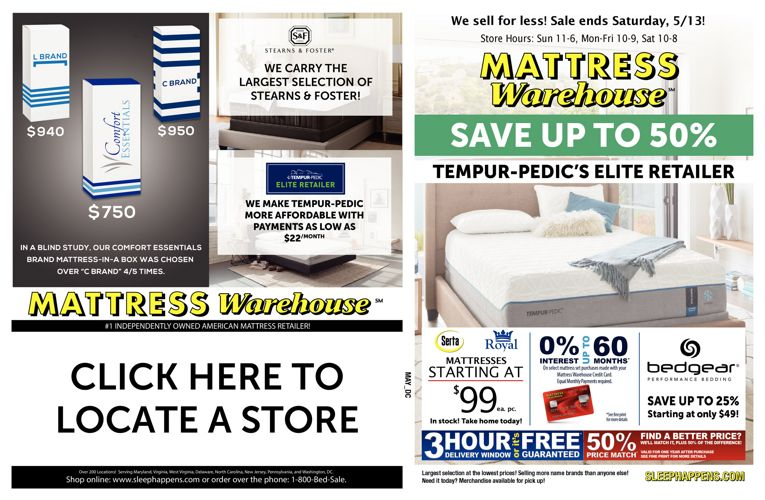 Mattress Warehouse May Save up to 50% Sale