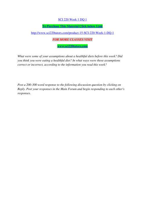SCI 220 TUTORS Real Success / sci220tutors.com