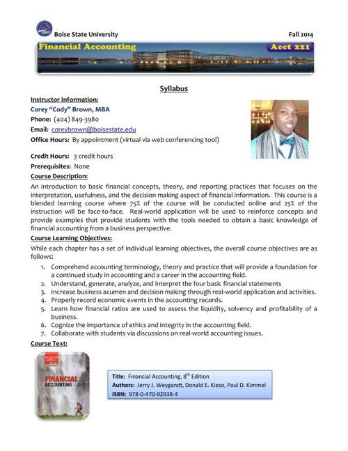 ACCT221 - Course Syllabus