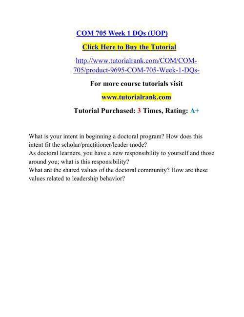 COM 705 Potential Instructors/tutorialrank