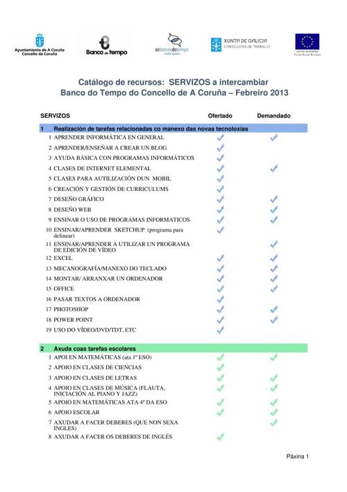 Recursos Banco do Tempo (febreiro-A Coruña)