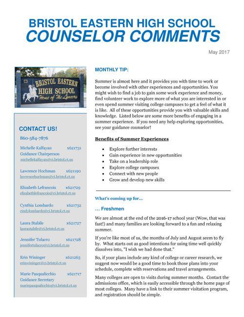 BEHS Guidance Newsletter