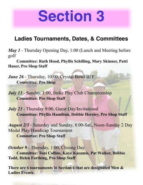 2014 Comprenshive Tournament Schedue Section 3 Ladies Events