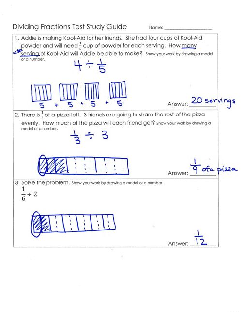 division of fractions study guide