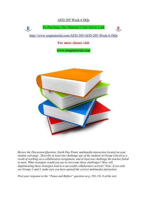AED 205 Week 6 DQs