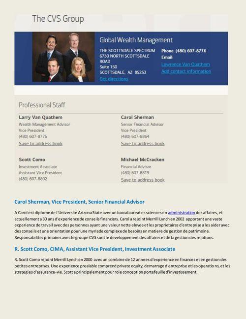 The CVS Group Merrill Lynch Financial Advisory Team