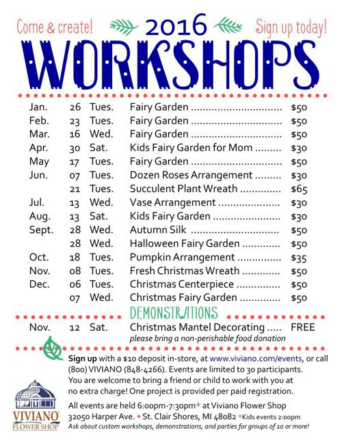 Viviano Flower Shop Workshops 2016