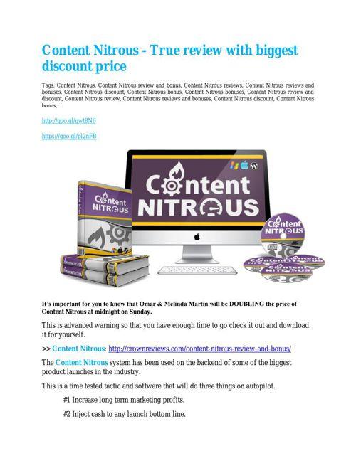 Content Nitrous Review and (MASSIVE) $23,800 BONUSES