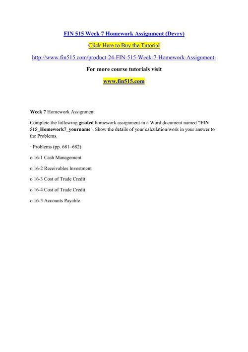 FIN 515 Week 7 Homework Assignment (Devry)