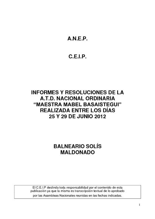 INFORMES y RESOLUCIONES DE LA A.T.D. NAC. ORDINARIA-SOLIS 2012