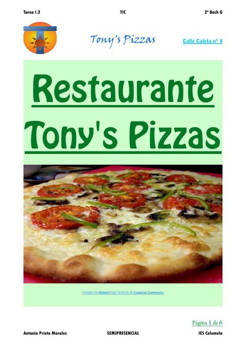 Carta del Restaurante Tony's Pizzas