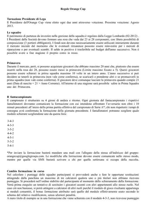 Regolamento Ufficiale Orange Cup 2012/2013