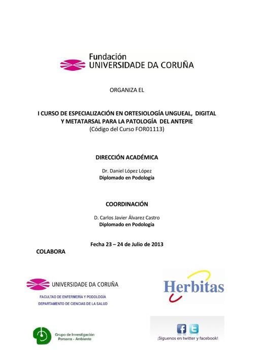 CURSO DE ESPECIALIZACIÓN EN ORTESIOLOGÍA