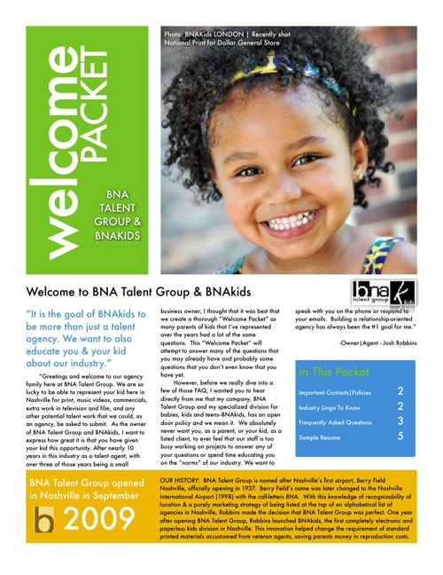 BNA Kids Welcome Packet