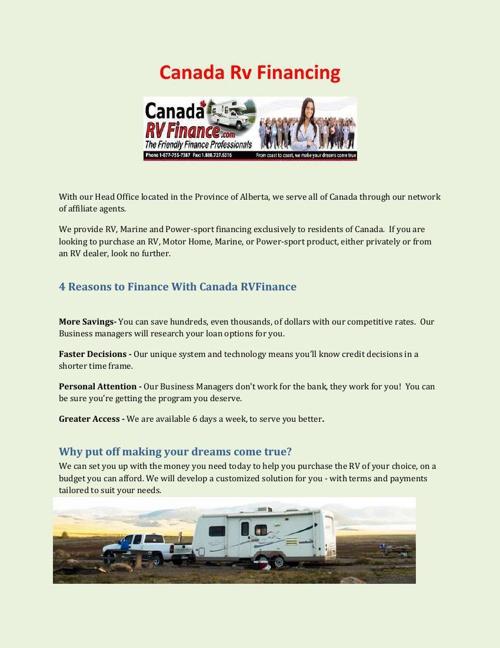 Canada Rv Financing