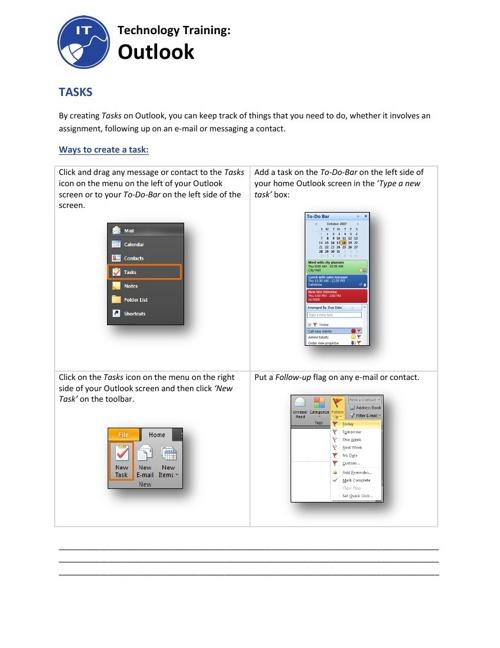 Outlook Tasks Training