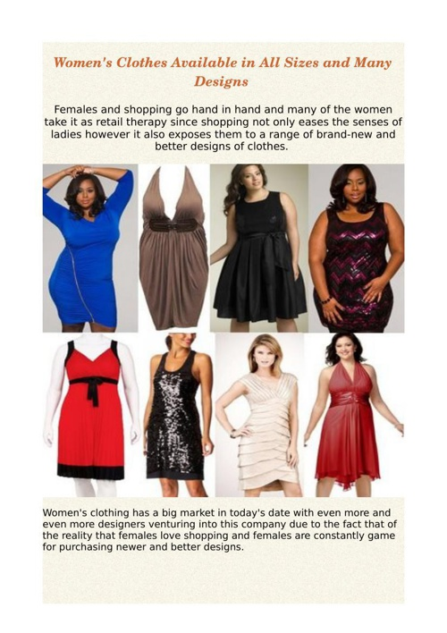 Women's Clothes Available in All Sizes and Many Designs
