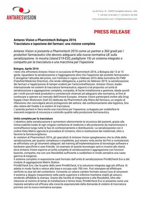 Antares Vision a Pharmintech Bologna 2016