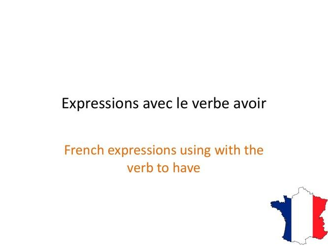 Expressions avec le verbe avoir
