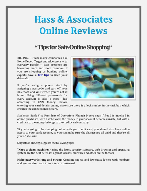 Hass & Associates Online Reviews: Tips for Safe Online Shopping