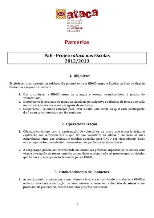 PAE - Projeto ataca nas Escolas 2012/2013