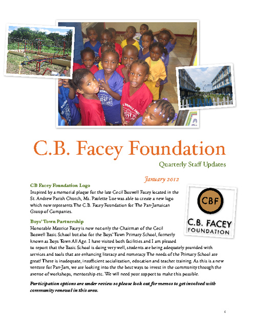 C.B. Facey Foundation Quarterly  (January - March 2012)