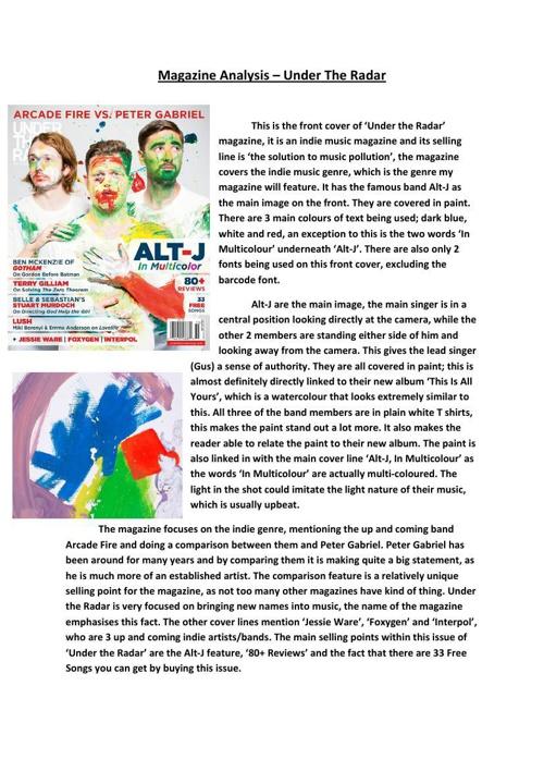 Magazine Analysis - Under The Radar