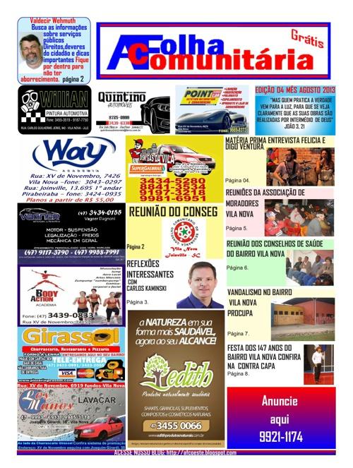 A FOLHA COMUNITÁRIA - edição 4 - AGOSTO DE 2013