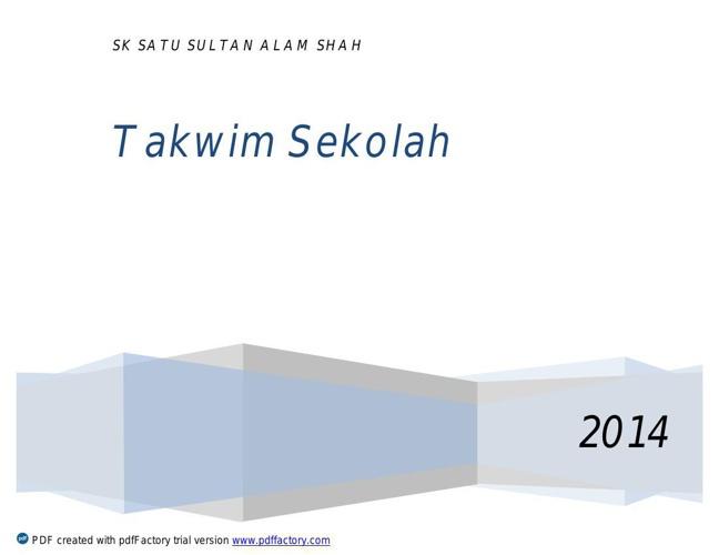 TAKWIM  SEKOLAH 2014