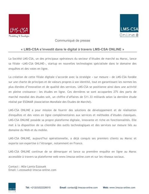 Communiqué de presse LMS-CSA ONLINE