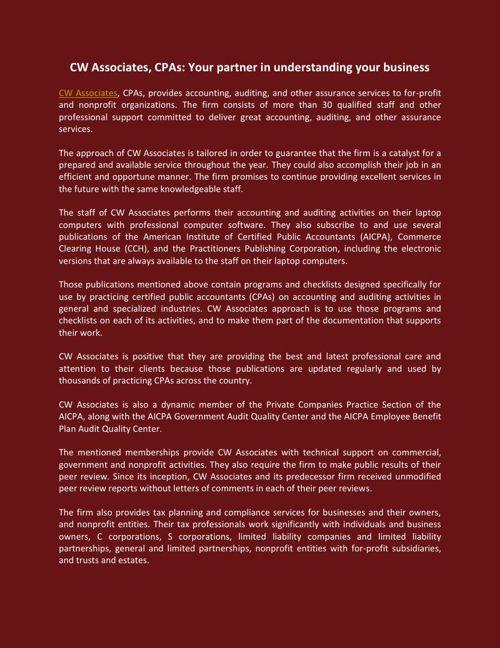 CW Associates, CPAs: Your partner in understanding your business