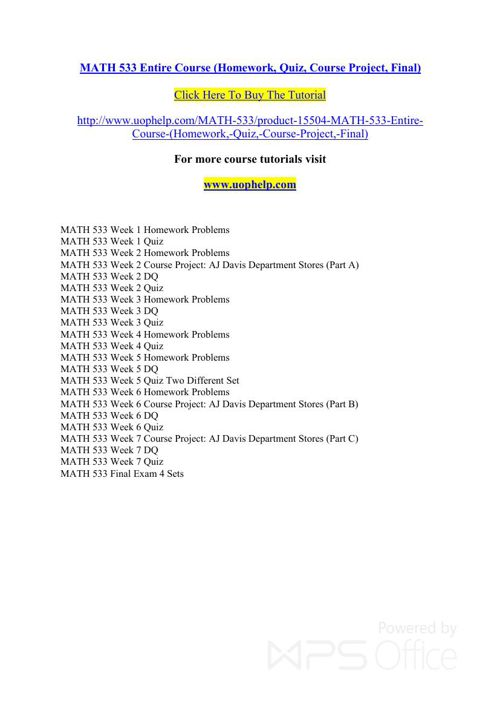 MATH 533 Instant Education/uophelp