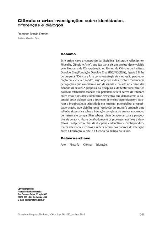 Ciência e arte: investigações sobre identidades, diferen
