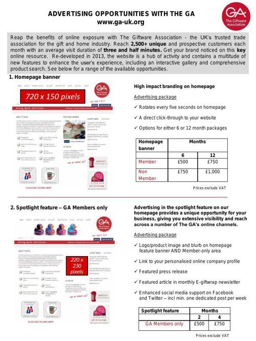 GA website advertising opportunities 2014