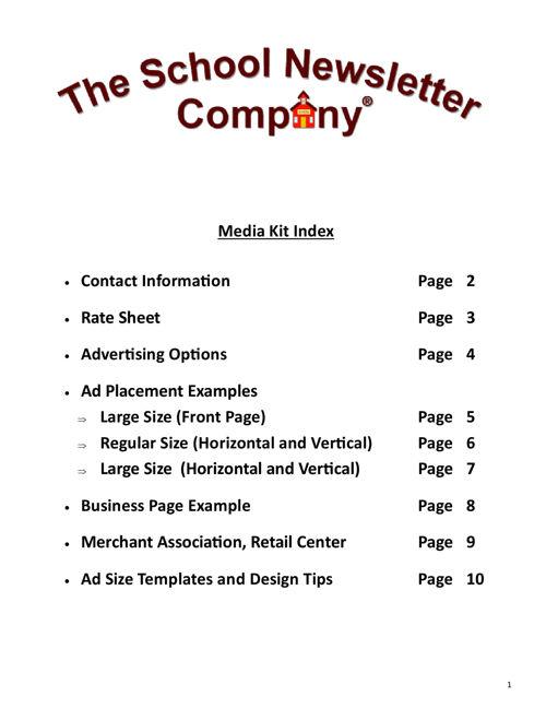 Media Kit The School Newsletter 2016-2017