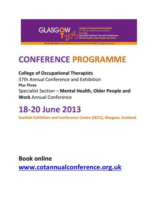 2013 Conference Timetable