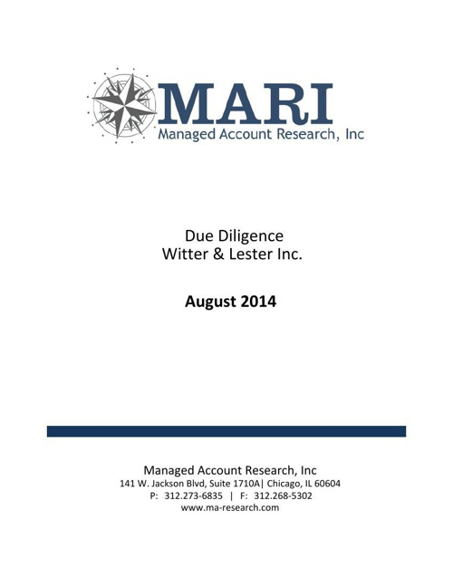 MARI Witter & Lester Due Diligence eBook Aug 2014